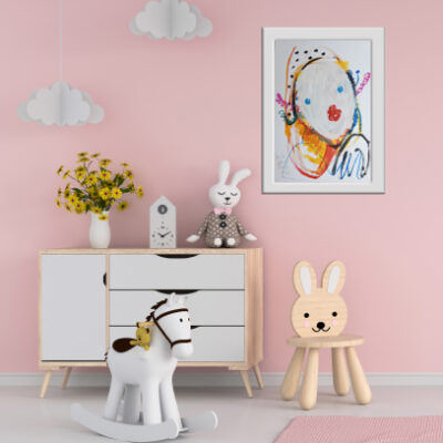Drawing board and chair in pink child room interior for mockup,