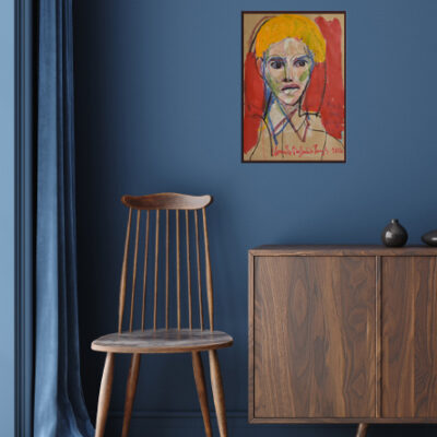 Commode with chair and decor in living room interior, dark blue