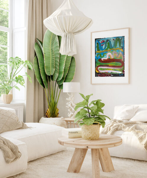 Mockup in interior background, room in light pastel colors, Scan