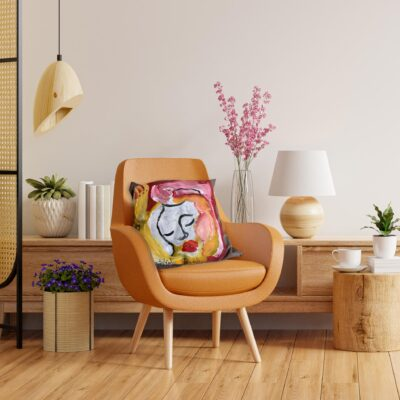 Living room interior wall mockup in warm tones with leather armchair on white wall background.3d rendering