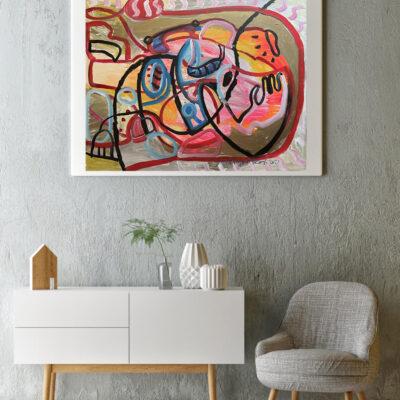 Mock up poster, Scandinavian design living room, hipster composi