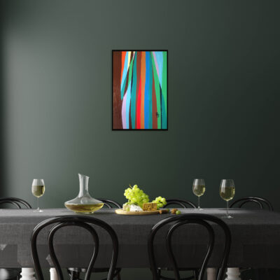 Poster, wall mock up in dark green dining room interior, 3d rend