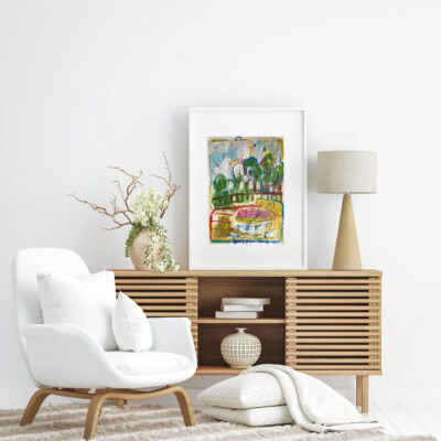 Poster mockup in Scandi-boho style interior background, 3d rende